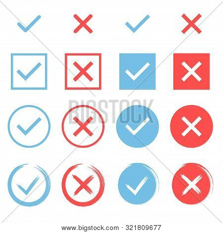 Set Of Chek Marks. Blue Tick And Red Cros. Yes Or No Accept And Decline Symbol. Buttons For Vote, El