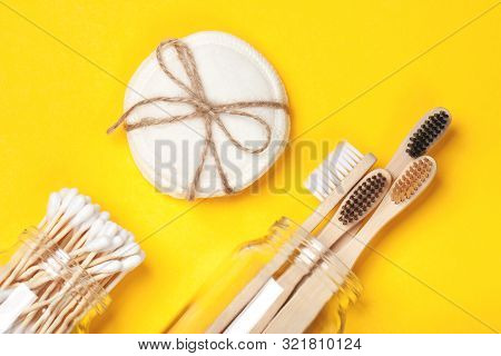 Set Of Eco-friendly Plastic-free Body Care Items On The Yellow Background. Zero Waste Concept, Plast