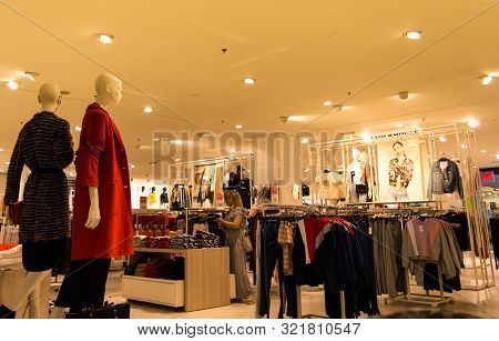 Bucharest, Romania, September 6, 2019, Interior Of Fashion Store In Shopping Mall, Clothes Stand For