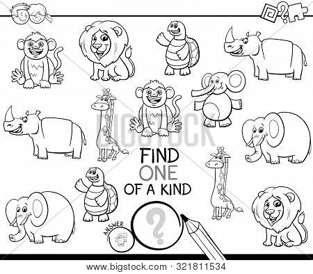 Black And White Cartoon Illustration Of Find One Of A Kind Picture Educational Activity Game With Wi