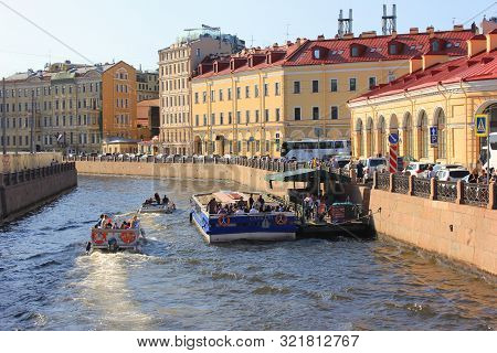 Excursion Cruise Boats On River Canal In City Center Of Saint Peterburg On August 2019. Tourist Ship