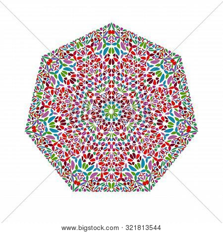 Abstract Ornate Geometrical Floral Mosaic Ornament Heptagon Symbol Template - Vector Element From Ge