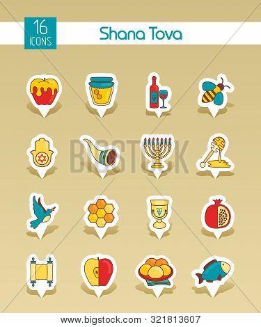 Rosh Hashanah, Shana Tova Or Jewish New Year Vector Pin Map Icons Set. Map Pointer. Map Markers