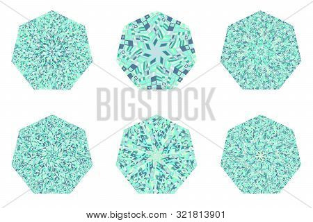 Abstract Isolated Mosaic Pattern Heptagon Polygon Set - Heptagonal Geometrical Vector Element On Bac