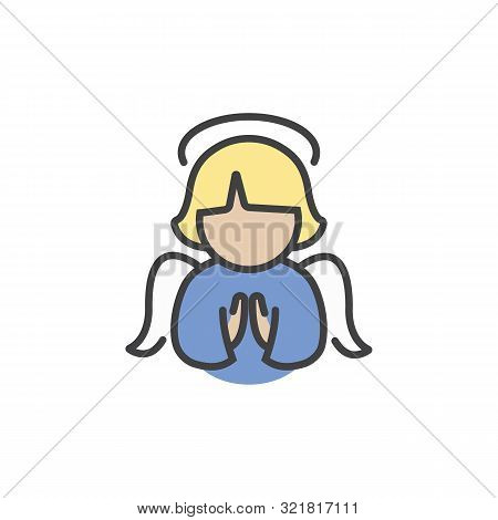Christmas Angel Icon In Flat Style Isolated On White Background.