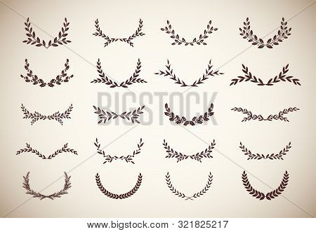 Set Of Different Vintage Silhouette Round Laurel Foliate, Olive And Oak Wreaths Depicting An Award,
