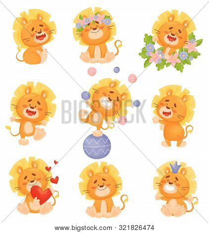 Set Of Cute Cartoon Lion Cubs. Vector Illustration On A White Background.
