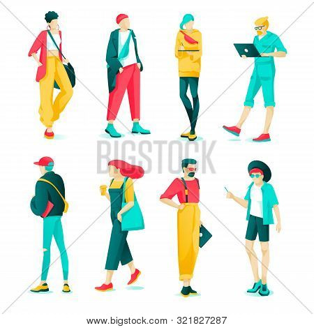 Poster Set Fashion Characteristic Young People. Modern Guys And Girls Are Dressed Fashionable Clothe