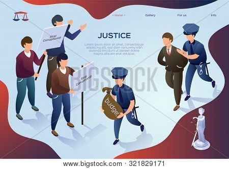 Poster Lettering Justice, Theft In State Budget. People Protest Against Corruption In Power. Police