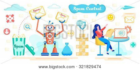 Spam Control Service With Artificial Intelligence, E-mail Safety And Protection App Flat Vector Conc