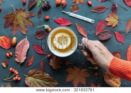 Flu Season, Cold Concept. Top View On Male Hand Holding A Cup Of Hot Tea With Lemon, Autumn Coloured