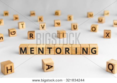 Mentoring - Word From Wooden Blocks With Letters, Help And Advice Mentoring Concept, Random Letters