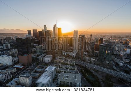 Los Angeles, California, USA - February 20, 2018:  Aerial view of urban Los Angeles downtown skyline at sunrise.