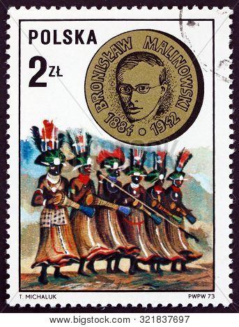 Poland - Circa 1973: A Stamp Printed In Poland Shows Bronislaw Malinowski And Trobriand Island Drumm