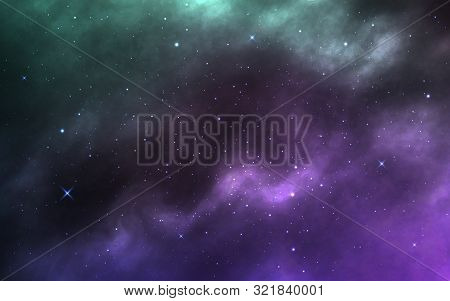 Space Background. Realistic Cosmos Texture With Stardust And Milky Way. Colorful Nebula With Shining