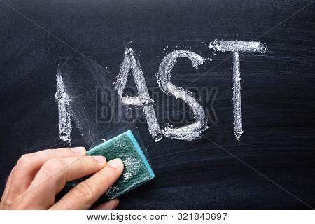 Hand Erasing Handwritten Word Past From Blackboard