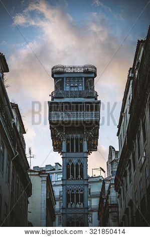 The Santa Justa Lift - Carmo Lift , A Historical Elevator In Lisbon