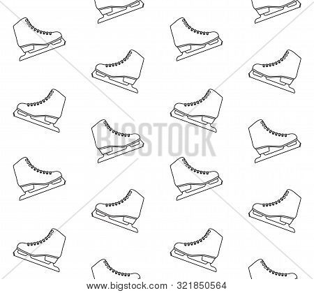 Vector Seamless Pattern Of Flat Outline Classic White Ice Skate Isolated On White Background