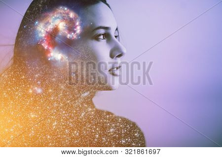 Double Multiply Exposure Abstract Portrait Of A Dreamy Cute Young Woman Face With Galaxy Universe Sp