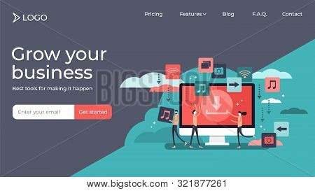 Free Download Tiny Persons Vector Illustration Landing Page Template Design. Stream Or Upload Styliz