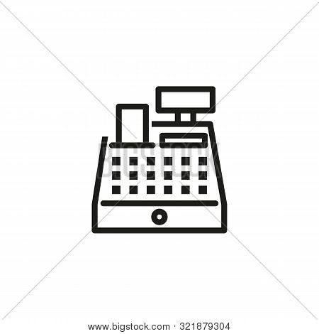 Cashbox Line Icon. Cash Register, Counter, Paying. Cashier Concept. Vector Illustration Can Be Used
