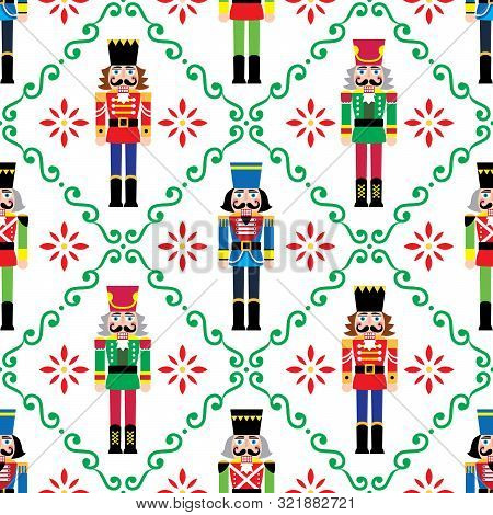 Christmas Nutcrackers Vector Seamless Pattern - Xmas Soldier Figurine Repetitive Ornament, Textile D