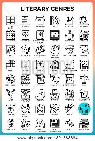 Literary Genres Concept Icons Set In Modern Line Icon Style For Ui, Ux, Web, Mobile App Design, Etc.