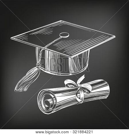 Graduate Cap And Diploma, Education Vintage Setice Cream Set Hand Drawn Vector Illustration Sketch,