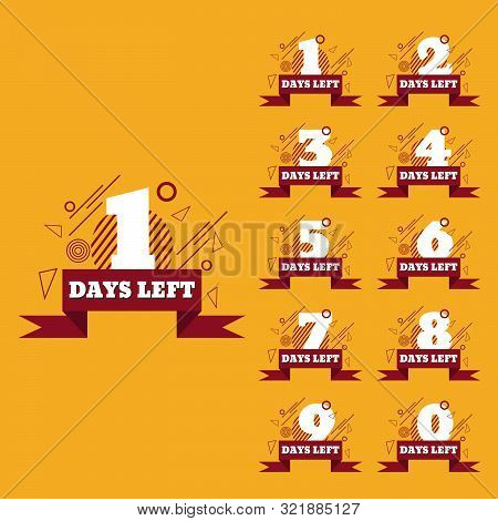 Days Left To Go  Red Banners Collection Badges Sale, Landing Page Set Eps 10