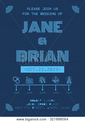 Wedding Invitation Card Template In Futuristic Blue Line Style