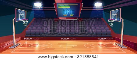 Basketball court with wooden floor, scoreboard on ceiling and empty fan sector seats cartoon illustration. Modern indoor stadium illuminated with spotlights. Sports arena or hall for team games poster