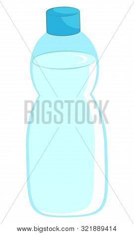 Full Plastic Bottle Of Purified Water To Relieve Thirst. Closed Container Of Transparent Liquid On W