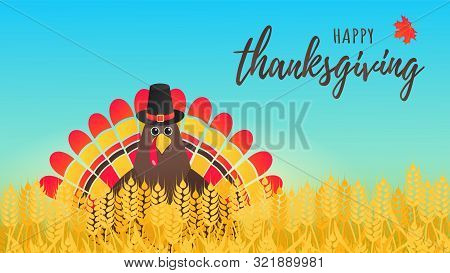 Happy Thanksgiving Day Flat Style Design Poster Vector Illustration With Turkey In The Field, Text A