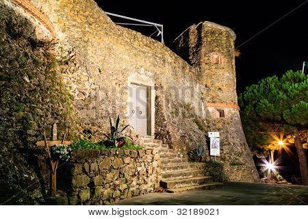 Illuminated Castle Of  Riomaggiore At Night, Cinque Terre, Italy