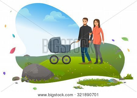 Father And Mother With Perambulator Walking With Kid Inside Vector, Characters With Newborn Baby Tra