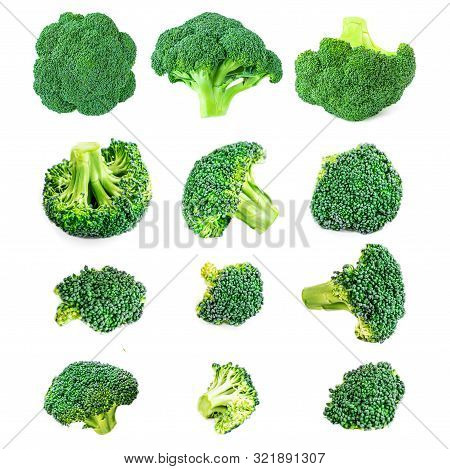 Creative Layout Made Of Broccoli.  Various Pieces Of Brocoli.  Fresh Green Vegetables Isolated On Wh