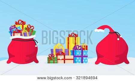 New Year Or Christmas Gift Bag Full Of Gifts, Pile Of Presents Boxes And Closed Gift Bag Flat Style