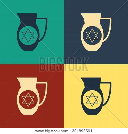 Color Decanter With Star Of David Icon Isolated On Color Background. Pottery Jug. Organic Product In