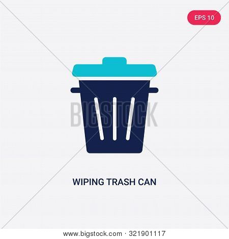 two colored wiping trash can vector icon from cleaning.