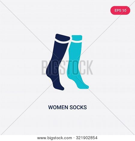 Two Colored Women Socks Vector Icon From Clothes. 2 Color Women Socks Concept. Blue Women Socks Sign