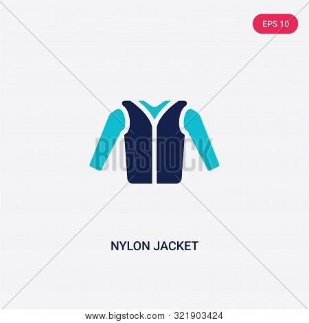 two colored nylon jacket vector icon from clothes.