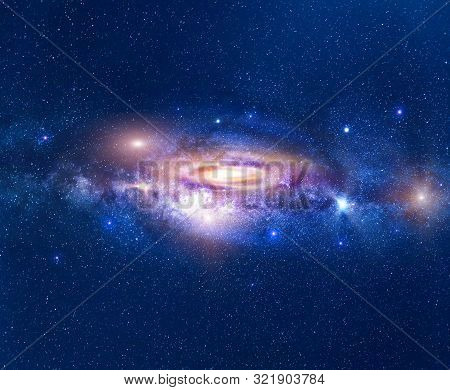 Galaxy In Deep Space With Milky Way And A Stars Field. Milky Way Made From Australia In August.