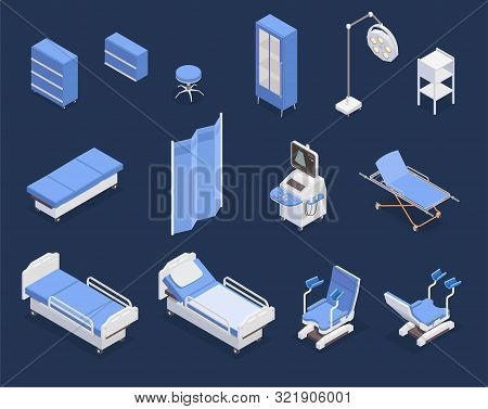 Isometric Set Of Various Medical Equipment Icons With Hospital Bed Gynecological Examination Chair U