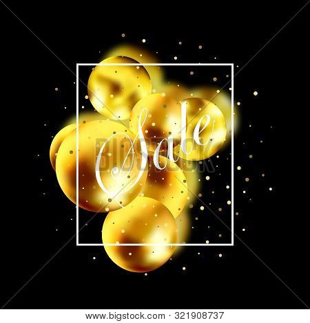 Sale Banner With Gold Balls, Render 3d Round Spheres. Sale Promotion Poster And Shopping Template. F