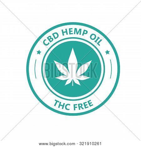 Hemp Derived Cbd Oil Stamp, Thc Free Icon, Marijuana Oil Label