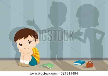 Husband And Wife Quarreling.parents Quarrel And Child Listen. Family Conflict. Shadow Of Dad And Mom