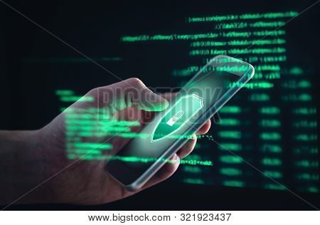 Phishing, Cyber Security, Online Information Breach Or Identity Theft Crime Concept. Hacked Phone. H