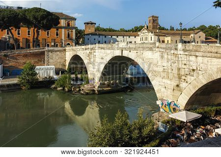 Rome, Italy - June 22, 2017: Amazing View Of Tiber River And Pons Aemilius In City Of Rome, Italy