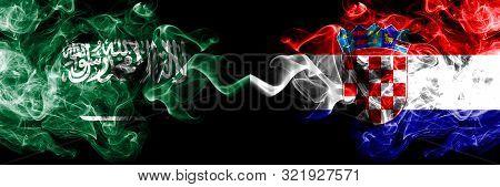 Saudi Arabia Kingdom Vs Croatia, Croatian Smoky Mystic Flags Placed Side By Side. Thick Colored Silk