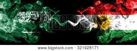 Saudi Arabia Kingdom Vs Kurdistan, Kurdish Smoky Mystic Flags Placed Side By Side. Thick Colored Sil